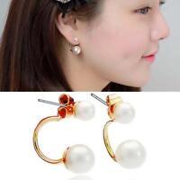 2x Trendy Womens Girls 925 Sterling Silver Freshwater Pearl Ear Stud Earrings GA