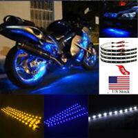 Newest 4Pcs 12V 15 LED Strip Waterproof Flexible Car Interior Backlight Lamp USA
