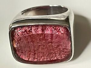 Vintage 70's chunky sterling silver & pink foil signet ring 19.07g band size M
