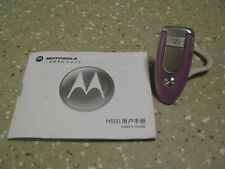 H500 Motorola PINK Bluetooth Earpiece Hands Free w Instruction Booklet