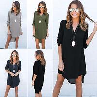 Women's Chiffon Blouse Long Sleeve T Shirt Casual Summer Loose Short Dress Tops