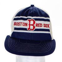 "Boston Red Sox Spellout and ""B"" Logo VTG Cap Hat MLB White-Blue Sportcap"