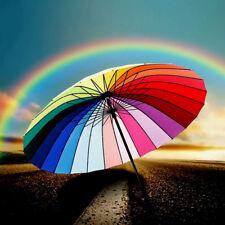 24 Colors Rainbow Umbrella Windproof  2 People Big Rain Protection Long-Handle