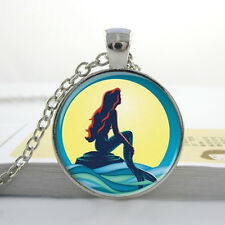 THE LITTLE MERMAID PENDANT NECKLACE / Silver Jewellery Gift Idea Moon Sea