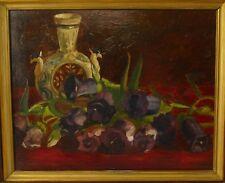 Jugendstil / Art-deko Stillleben, Öl auf Mahagoni Platte gemalt, um 1900-30