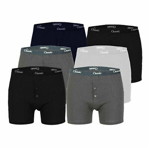 6 PACK MENS BUTTON FLY SOFT COTTON RIBBED BOXER SHORTS TRUNKS BRIEF S M L XL XXL