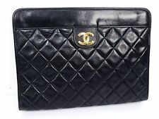 100% Auth CHANEL Lamb Leather Clutch Bag Pouch Matelasse Coco Black R372
