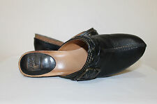 FRYE Black Leather Candice Woven Women's Mules Slip On Clogs Shoes Size 8-1/2 M