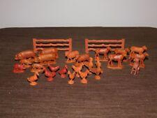 VINTAGE FARM TOY 26 PIECE FARM ANIMALS & GATES  SET