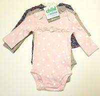 Child of Mine Carters Long Sleeve Bodysuits 3 pack Girls Preemie 0-3 M 18 M NWT