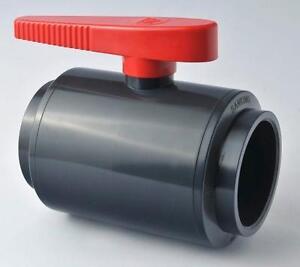 PVC U Compact Ball Valve Solvent Weld 20 25 32 40 50 63 mm Koi Fish Pond Valves
