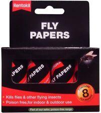 Rentokil Fly Papiers non Toxique sans Poison - Paquet De 8 - Collant Suspendu