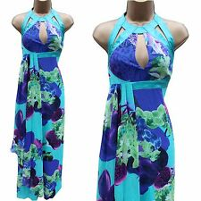 Karen Millen Turquoise Silk Floral Halterneck Cocktail Maxi Long Summer Dress 10