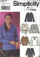 Simplicity 5911 Misses Pullover Tops Tunics Neckline & Sleeve Variations 6-12