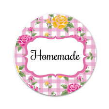 'HOMEMADE' stickers - 30mm, floral gingham designs, 4 colours available