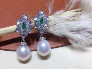Fashion 9-10 mm natural south sea white pearl earrings