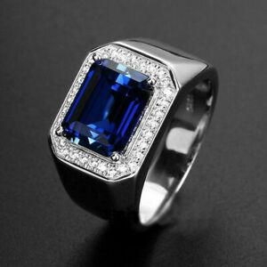 14k White Gold Over Emerald Blue Sapphire Men's Engagement Wedding Band Ring
