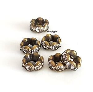 Rondelle Rhinestone Crystal Antiqued Brass 6mm 6 Spacer Beads