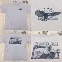 ALASKA - DEL SOL Vtg Bald Eagles Distressed Tan Outdoors T-shirt, Mens XL