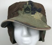 Army Combat Field Cap Ear Flaps Hat Military Woodland Camo Green USA 7 1/2