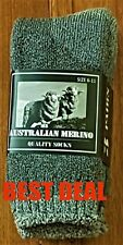 6-PAIRS GREY HEAVY DUTY AUSTRALIAN MERINO EXTRA THICK WOOL WORK HIKING SOCKS6-10