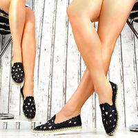 LuXus Damen Espadrilles Slipper Damenschuhe Party Ballerinas Freizeit Lochmuster