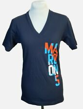 Women's Ladies Blue Maroon 5 Band/Concert V-Neck T-Shirt w Paint Logo Nwot Xs