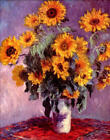 "Claude Monet Sunflowers *FRAMED* CANVAS ART 24x16"" -"
