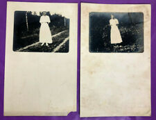 SET OF 2 RPPC 1907-1915 LADY IN DRESS UNPOSTED VINTAGE POSTCARDS