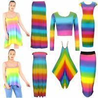 Women Rainbow jumpsuit,sheering maxi,skirt,croptops,cami dress,camitop,maxi dres