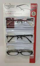 3 Pack Design Optics By Foster Grant Ladies Semi Rimless Reading Glasses +3.00
