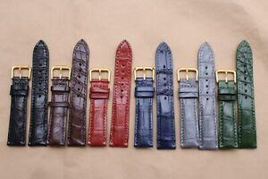 18mm/14mm Genuine Alligator Crocodile Leather skin Watch Strap band Plus Buckle