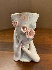 New Listing 00004000 Vintage Hands Holding Goblet Porcelain China Vase - Mauve Nails - Pink Roses