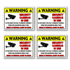 4 CCTV VIDEO SURVEILLANCE Security Burglar Alarm Decal Warning Sticker Signmk01
