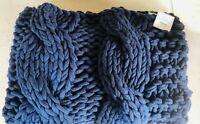 Pottery Barn Chunky Colossal Hand Knit Navy Blue Throw Blanket Decor Nautical