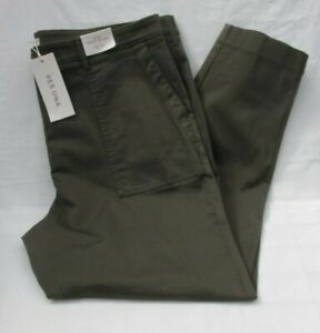 LADIES MARKS AND SPENCER PER UNA HUNTER GREEN SLIM ANKLE GRAZER TROUSERS SIZE 16