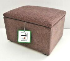 Footstool With Storage In A Brown Basket Weave Fabric