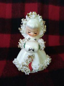 VTG 1960 Holt Howard Christmas Angel Muff Figurine Candle Holder Spaghetti Trim