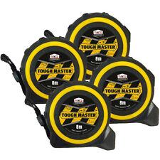 Toughmaster Pocket Tape Measures Metric/Imperial 8M/26ft Anti-Impact Pack of 4