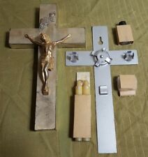 "Vintage 10"" Metal Crucifix Confirmation Kit w Original Candles & Holy Water Jar"