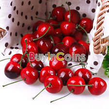 30 X Lifelike Fake Faux Cherry Artificial Fruit Model House Kitchen Party Er15