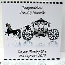 Handmade Personalised Congratulations Wedding Card Horse & Carriage