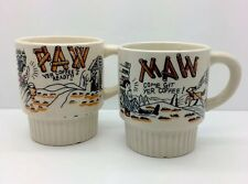 """MAW COME GIT YER COFFEE"" ""PAW YER COFFEES READY"" 2 Hand painted Mugs Vtg 40-50s"