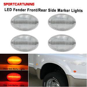 Amber/Red LED Fender Side Marker Lights For Ford 1999-2010 F350 F450 Super Duty