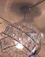 Vintage Art Deco Style Twisted Crystal/Chrome Effect Light Shade Pendant NEW