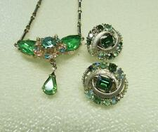 Beautiful Teardrop Necklace and Clip Earrings Signed Coro Green Stones- VINTAGE