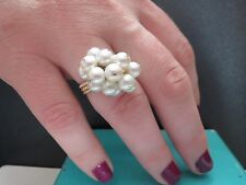 Vintage Estate 14KT Yellow Gold Pearl Cluster Ring Size 6 1/2