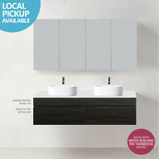 ASTI | 1500mm Oak Grey PVC THERMAL FOIL Timber Wood Grain Double Vanity w Stone