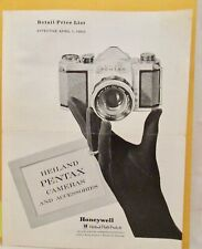 Heiland Pentax Cameras & Accessories retail price list April 1, 1960