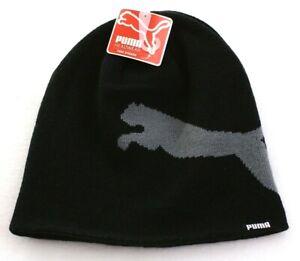 Puma Logo Black Knit Beanie Skull Cap Adult One Size  NWT